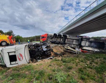 Ciężarówka uderzyła w bariery na S8