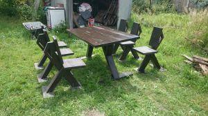 Zestaw mebli ogrodowych z litego drewna stół + ...