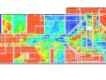 Zasięg widzialności w pożarze. Kolor niebieski oznacza, że ludzie nie widzą znaków ewakuacyjnych i ich szanse na ewakuację maleją do zera, jeśli są w tej przestrzeni. Symulacja firmy Gardatech.
