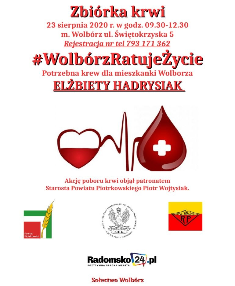 Będą zbierać krew dla mieszkanki Wolborza