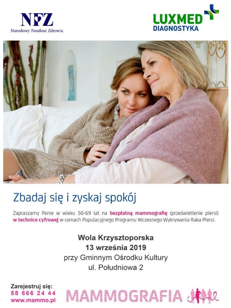 Bezpłatna mammografia przy GOK w Woli Krzysztoporskiej